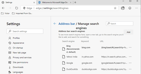 Add More Search Engine in Edge