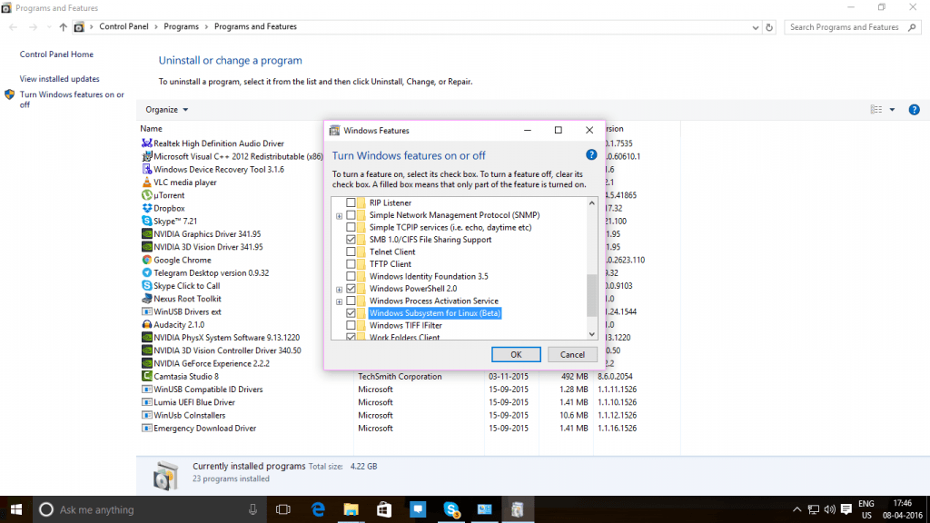 BASH on Windows 10 Enable Feature
