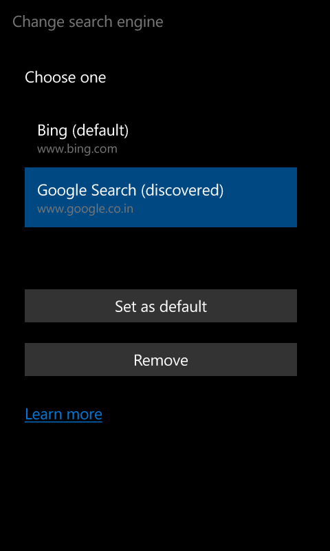 Set Google as Default Search Engine in Windows 10 Mobile