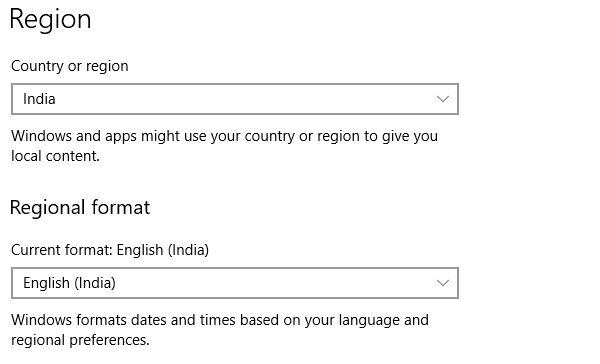 Change Region Windows 10