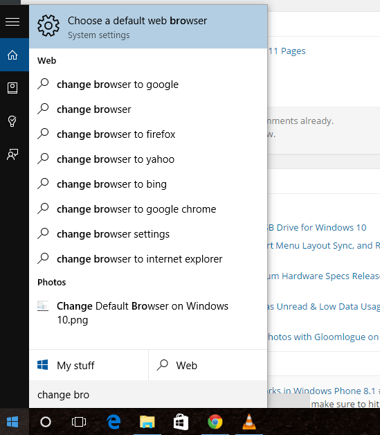 Choose a Default Web Browser Settings in Windows 10