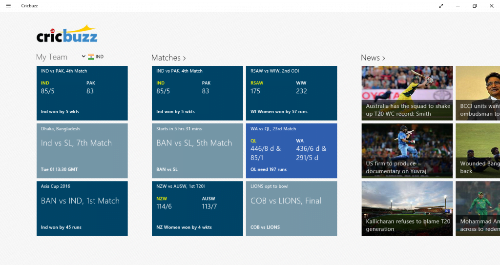 Cricbuzz Windows App