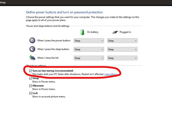Disable Fast Startup in Windows 10