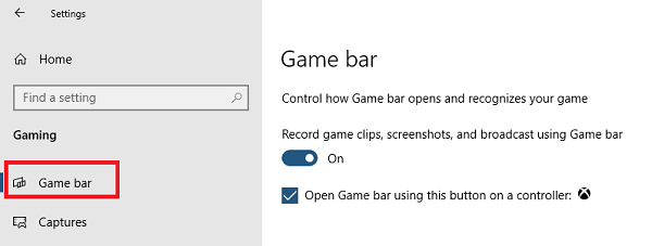 Disable Game Bar in Windows 10