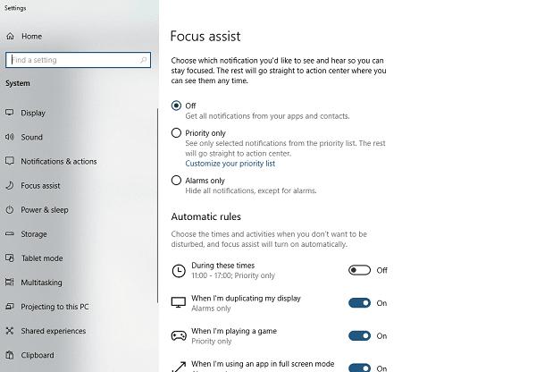 Focus Assist Windows 10