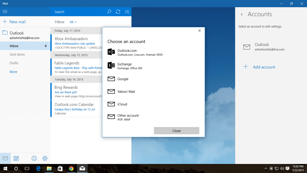 Outlook App Gmail Configuration in Windows 10