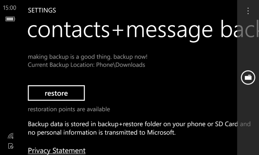 Restore Contacts + messages