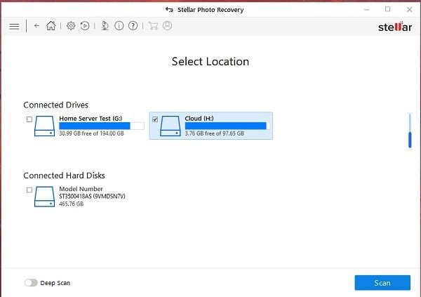 Select Drives for Scan Stellar Photo Recovery