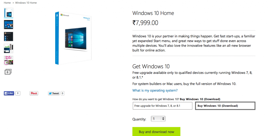 Windows 10 Pricing for India is Live