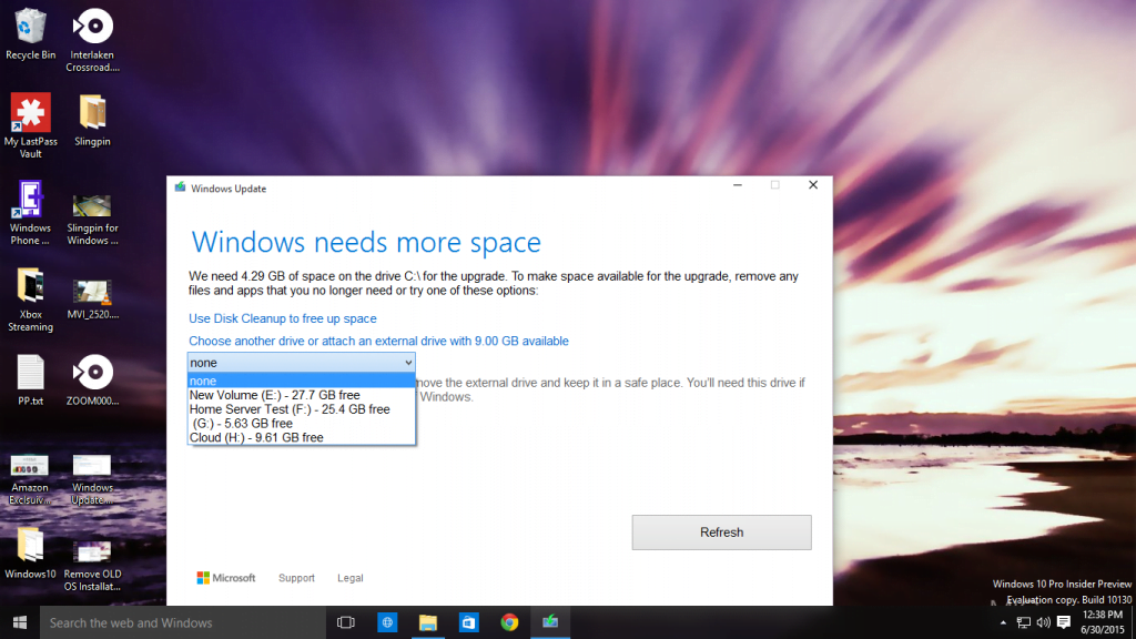 Windows Need Space for Backing up Existing Installation