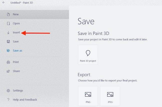 Create 3d projects in paint 3d App