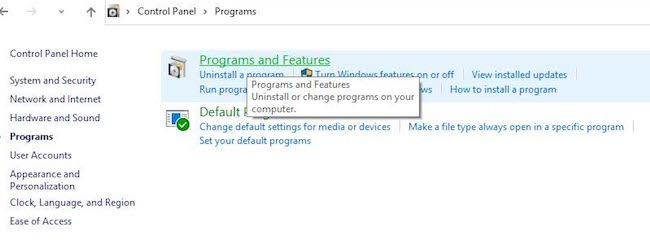 Programs and Features in Windows 10