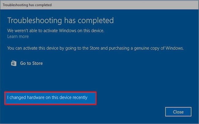 Change Windows 10 hardware recently